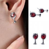 Boucles d'oreilles en Forme de Verre à Vin  Coeur Rouge de Strass