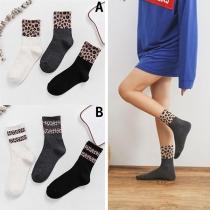 Chaussettes de 3-Paires Douces Stylées à la Mode à Imprimés de Léopard