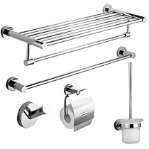 Bath Accessory Set, Modern 5 Piece Chrome Stainless Steel Hardware Set Silver