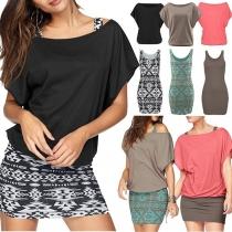 Deux-Pièces Elégant à la Mode : Tee-Shirt Ample à Manches Courtes+Robe à Imprimés Sans Manches