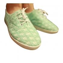 Chaussures Spliced vert doux de dentelle à lacets